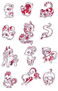 12 Chinese Zodiac by LittleDarkDragon on DeviantArt Zodiac Symbols, Zodiac Art, 12 Zodiac, Astrology Zodiac, Cute Animal Drawings, Cute Drawings, Signes Zodiac, Chinese Astrology, 12 Chinese Zodiac Signs