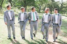 gray suits with aqua ties | Loft Photographie #wedding #Tiffany blue wedding groom