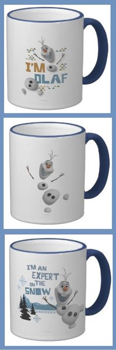 Check out Disney Frozen's Olaf on these coffee mugs. Fun. Love the blue color, which is both the movie's color and my favorite color. #frozen #olaf #disney