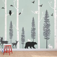 Birch Tree Wall Decal with Animals Baby Nursery Wall