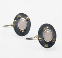 Silver earrings with 585 yellow gold. In the middle, an oval cut rose quartz settles. Earrings without hooks about 18 x 14 mm rose quartz about 8 x 6 mm Gold, Etsy, Pink Quartz, Handmade, Ring, Silver, Handarbeit, Schmuck, Yellow
