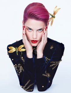 Ashley Smith wears a pink hairstyle in the beauty editorial