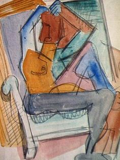 Louis Schanker, Abstract Nude on Chair, 1936. Watercolor & ink.
