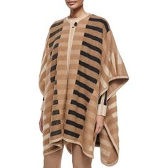 Escada Mixed-Tone Striped Blanket Cape (€2.390) ❤ liked on Polyvore featuring outerwear, caramel, escada, cape coat, camel cape and camel cape coat