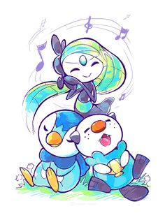In the most recent arc of the anime, Piplup and Oshawott have a rivalry with each other. They often try to outdo one another in hopes to impress Meloetta. Here, it seems for now they have set aside...