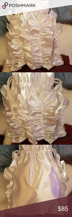 Hallspenself Designs Wedding Bridal Bags This white satin bridal bag has beautiful ruffles. Handmade BY ME Hallspenself Designs Bags Clutches & Wristlets