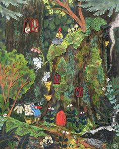 """""""The Gnome's Home"""" Phoebe Wahl 2013 Watercolor, collage & colored pencil."""