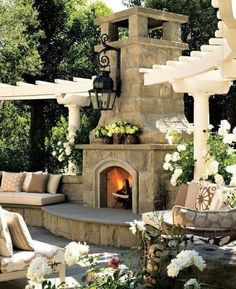 I like the look of these small arbors with the curves.  I like the fireplace but do not feel one is necessary here.