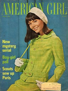 Lime green loveliness on the cover of American Girl magazine, 1967. #vintage #1960s #fashion