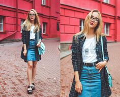 Anna Pogribnyak - Choies T Shirt, Style Moi Denim Skirt, Style Moi Long Shirt, Cndirect Bag, Vagabond Sandals, Zerouv Glasses - Nerd