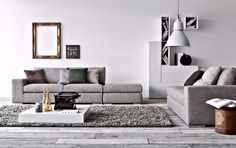 Einzigarte und moderne Wohnzimmer für Ihr zu Hause | Weißes Sofa Holzmitte Tisch | #moderne #Wohnzimmer #deko