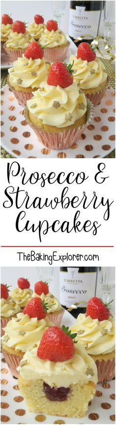 Prosecco & Strawberry Cupcakes perfect for a New Year's Eve Party cupcakes decoration hochzeit ideas ideen recipes rezepte cupcakes cupcakes cupcakes Cupcake Recipes, Baking Recipes, Cupcake Cakes, Cupcake Ideas, Cup Cakes, Vegan Recipes, Cupcake Art, Strawberry Cupcakes, Strawberry Recipes