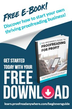 How to start your own thriving proofreading business in the FREE eBook The Beginner's Guide to Proofreading for a Profit. Click the pin and enter your email to learn how to get started today! Earn Money From Home, Earn Money Online, Online Jobs, Way To Make Money, Work From Home Careers, Legit Work From Home, Work From Home Opportunities, Business Planning, Business Tips