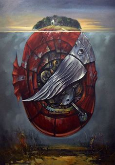 """painting on canvas with oil paint size x The canvas comes with certificate of authenticity by,, Andrzej Gudanski """" The painting comes from period 2016 Painting will be sent in safe tube Ed Fairburn, Surrealism, Auction, Island, Canvas, Unique, Painting, Art, Tela"""