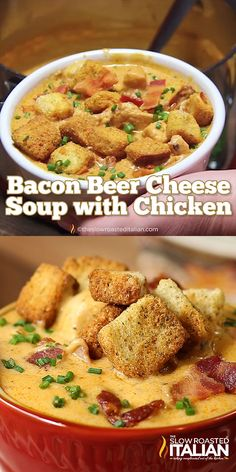 25 Minute Bacon Beer Cheese Soup with Chicken is one of our all-time most popular recipes and for good reason. ready in 25 minutes. It is thick and creamy, amazingly cheesy with just the perfect spices to make your taste buds stand at attention. Beer Recipes, Gourmet Recipes, Chicken Recipes, Cooking Recipes, Dinner Recipes, Beer Soup, Beer Cheese Soups, Most Popular Recipes, Favorite Recipes