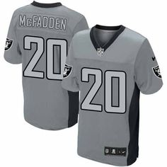 Men s Nike NFL Oakland Raiders  20 Darren McFadden Elite Grey Shadow Jersey   129.99 f74aa2370