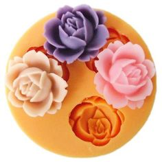 Open rose flower silicone mold