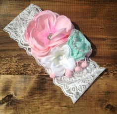 "The ""Pinky Promise"" shabbychic girl headband, baby bow; Baby girl headband on wide lace elastic by HeadbandsbyHeadHugs on Etsy"