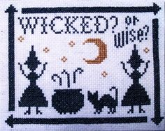 """""""Wicked?"""" Cross Stitch Pattern - Wicked? or Wise? Two witches greet the moon as it rises in the midnight sky. Adorable for Halloween, or any time of year. Simple to stitch, with just two colors of floss. Design measures 65 stitches high by 81 stitches wide."""