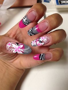 Nail Art Gallery - pink zebra