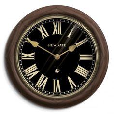 Newgate Clocks Kings Cross Station Wood Wall Clock - Black Dial