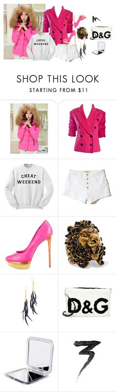 """""""Polyvore Girl"""" by anelia-georgieva ❤ liked on Polyvore featuring WithChic, Hollister Co., B Brian Atwood, Gucci, Shashi, Dolce&Gabbana and Manic Panic NYC"""