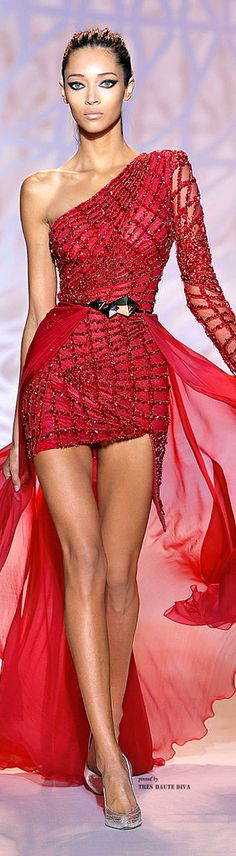 Zuhair Murad ~ Haute Couture One Shoulder Red Mini w Sheer Skirt 2014