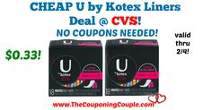 Great QUICK deal to pick up this week! CHEAP U by Kotex Liners Deal @ CVS ~ NO COUPONS NEEDED!  Click the link below to get all of the details ► http://www.thecouponingcouple.com/cheap-u-by-kotex-liners-deal-cvs/ #Coupons #Couponing #CouponCommunity  Visit us at http://www.thecouponingcouple.com for more great posts!