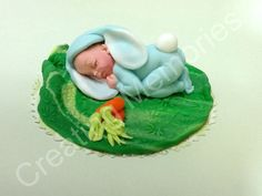 Baby Bunny  in Blue Fondant Cake Topper/Edible Topper/BABY SHOWER/First Birthday/Blue or Pink you choose the colors