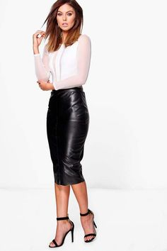 boohoo Orla Seamed Leather Look High Waist Midi Skirt Short Skirts, Midi  Skirt, Dress 306df264f26