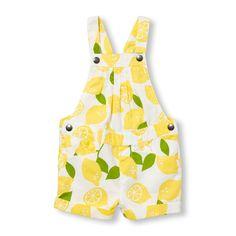 Toddler Girls Lemon Print Shortall