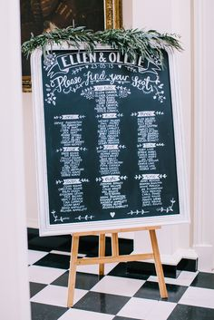 Blackboard Table Plan with Vine Greenery Decor | Peach Colour Scheme | Kelmarsh Hall Country Wedding Venue | Images by Chris Barber Photography | http://www.rockmywedding.co.uk/ellen-ollie/