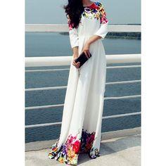 Elegant Round Collar Flower Print Floor-Length 3/4 Sleeve Dress For Women