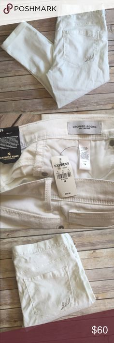 "NWT Express ""Mia"" White Cropped Jean Leggings Brand new with tags, from Express, size 14, mid rise. Express Jeans Ankle & Cropped"