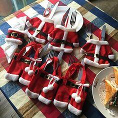 Prextex Set Of 6 Santa Cutlery Holder With 6 Santa Belt Napkin Rings Best Christmas Dining Table Decoration