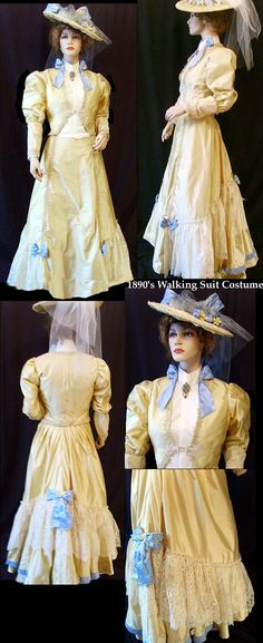 1890s Victorian Day Dress Costume of Yellow silk with Victorian hat. Dupioni silk with blue silk accents, and vintage ivory lace. This Gibson Girl ensemble consists of 4 pieces, overjacket, lace undershirt, skirt and hat. Lovely!
