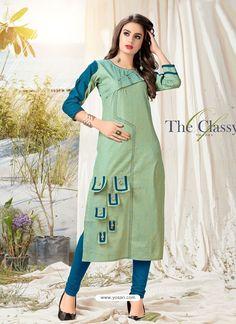 Sea Green Khadi Cotton Hand Worked Readymade Kurti Salwar Designs, Kurti Neck Designs, Kurta Designs Women, Dress Neck Designs, Kurti Designs Party Wear, Kurta Patterns, Fancy Kurti, Choli Dress, Fashion Model Poses