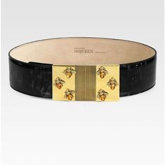 Alexander McQueen Jeweled Bee Bridle Belt (€960) found on Polyvore featuring accessories, belts, alexander mcqueen belt, black belt, alexander mcqueen, wide belt and jewel belt