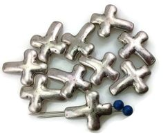 10 cross pewter silver 2 hole slider beads 11281