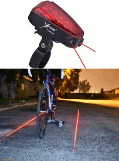 The Xfire Safety Light Laser-Generated Bike Lane. This battery-powered safety light clamps to your bike frame and projects highly visible red laser images on the ground on either side of your bike, simulating an instant bike lane that helps alert drivers to your presence. The intense laser markers are visible over a mile away, even under headlights and streetlights. The device also includes an LED flashing taillight for extra visibility. Three AAA batteries keep the light for 20 hours.