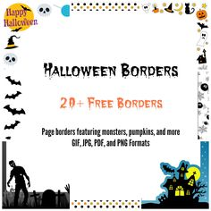 This free, printable Halloween border features ghosts, black cats ...