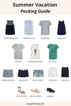 Find out what to pack for a summer vacation for a week's worth of outfits!  Make the most of your carry on suitcase with this packing guide.  If you pack an embroidered tank, sleeveless ruffle top, striped tee, swing tank, gray shirt, graphic top, loral top, chambray shorts, twill shorts, denim shorts, ankle sandals, slip on sandals and sneakers, you'll have several outfit ideas, all from your closet!