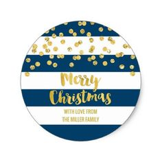 Blue Stripes Gold Confetti Merry Christmas Custom Classic Round Sticker - stripes gifts cyo unique style