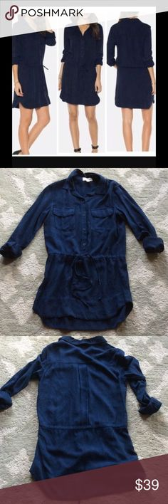 🎉HP🎉Navy Cloth and Stone Drawstring Tunic Brand new navy button front, Henley tunic from Anthropologie. 100% Rayon. Machine washable. Super soft, drapey fabric. Shown as a dress, I intended to wear it with leggings. Never worn. Anthropologie Dresses Mini