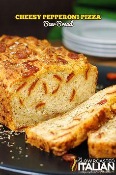 Cheesy Pepperoni Pizza Beer Bread  from theslowroasteditalian.com #bread #recipe