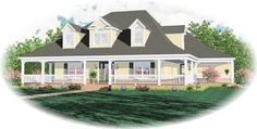 Country Style House Plans - 3500 Square Foot Home , 2 Story, 4 Bedroom and 3 Bath, 3 Garage Stalls by Monster House Plans - Plan 6-1430