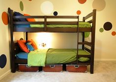 Painted or stained bunk beds.  These were the light colored wood and she updated them to dark.