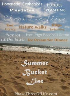 Making a Summer Bucket List. #bucketlist #summerfun #mommyblog  phasethreeoflife.com