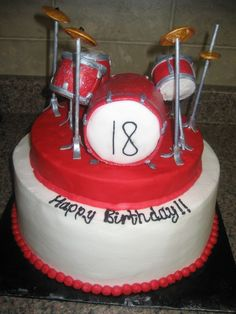 Drum Set Cake...Iced in buttercream w/Rice Krispie Treat drum set covered in fondant