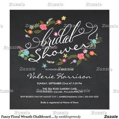 Fancy Floral Wreath Chalkboard Bridal Shower Card. Elegant Chalkboard Bridal Shower Invitation Templates. Classy bridal shower invitations that you can order online. Customized for the new bride to be. Elegant bridal shower invitation that feature a nice chalkboard background, great design and typography. Click image to customize. Feel free to like or repin.